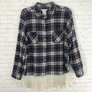 Demanding Plaid Flannel Top Layered Hemline Sz XL